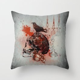Skull and Crow Tattoo Throw Pillow
