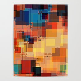 Multi color Square Geometrical Overlays Poster