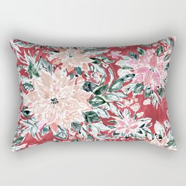 LUSH POINSETTIA Red Lush Holiday Floral Rectangular Pillow