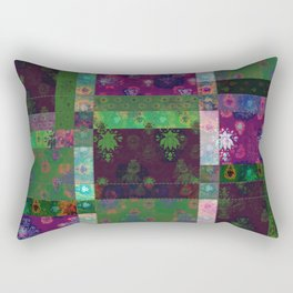 Lotus flower green and maroon stitched patchwork - woodblock print style pattern Rectangular Pillow