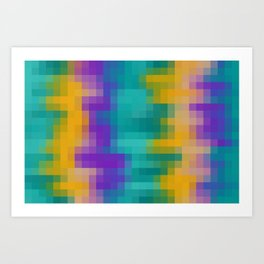 green yellow and purple pixel background Art Print