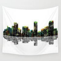denver Wall Tapestries featuring Denver Skyline BW by Marlene Watson