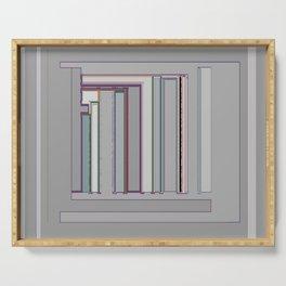 Grayfest in distorted stripes geometric fabric art Serving Tray