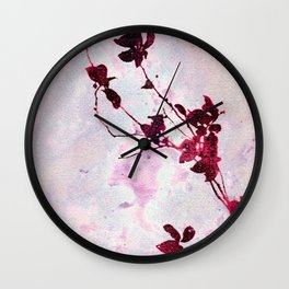 Botanical Traces in Pink Wall Clock