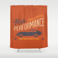 sport Shower Curtains featuring Vintage British Sport Car by Thyme