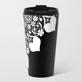 Retro . White lace on a black background . Travel Mug