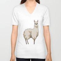 llama V-neck T-shirts featuring Llama by Nemki