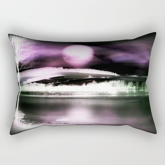 Moon night on the lake 2 Rectangular Pillow