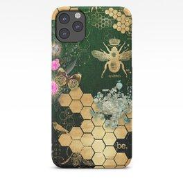 French chic, victorian,bee,floral,gold foil, belle epoque,art nouveau, green foil, elegant chic coll iPhone Case