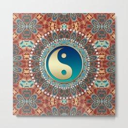 Bohemian Batik Yin Yang Metal Print