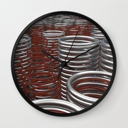 Glass and metal springs and coils Wall Clock
