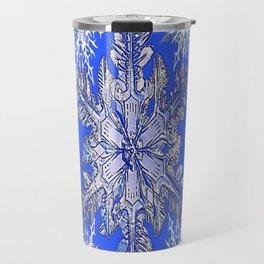 GREY MERRY CHRISTMAS RED FLOWERS BLUE SNOWFLAKES Travel Mug