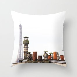 Eiffel Tower and Chimneys in Paris  Throw Pillow