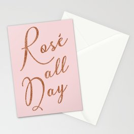 Rosé all day in Rose Gold and Pink Stationery Cards