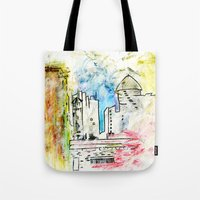 cityscape Tote Bags featuring Cityscape by Alyssa Leary