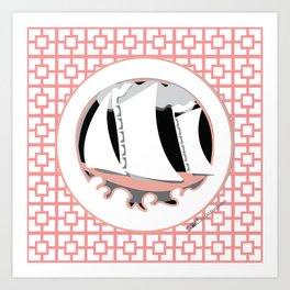 Breeze Block Sail Boat, pink Art Print