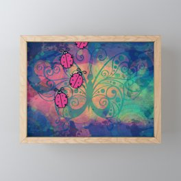 Abstract Design with Ladybugs and Butterfly Framed Mini Art Print