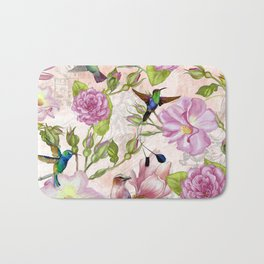 Vintage Roses and Hummingbird Pattern Bath Mat