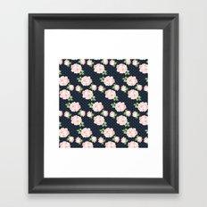 Blue and Pink Vintage Rose Pattern Framed Art Print