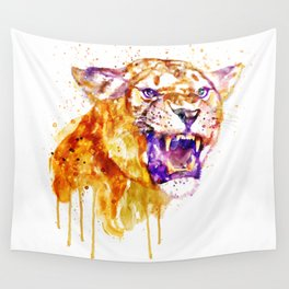 Angry Lioness Wall Tapestry