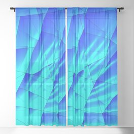 Bright sunshine on celestial and blue triangles of irregular shape. Sheer Curtain