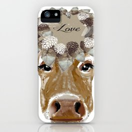 Cow with Love Hat iPhone Case