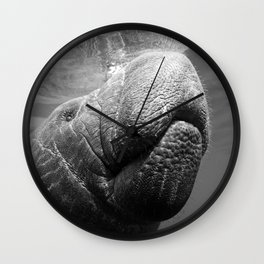 I Heart Manatees B&W Wall Clock