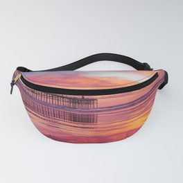 Pink, Blue & Orange Sunset with Low Tide Ocean Water Reflection Fanny Pack