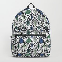 blue and green boho feather pattern Backpack