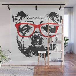 Portrait of English Bulldog with glasses. Wall Mural