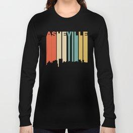 Retro 1970's Style Asheville North Carolina Skyline Long Sleeve T-shirt
