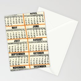 the order of numbered days Stationery Cards