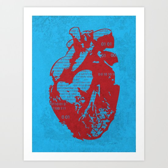 Binary heart Art Print