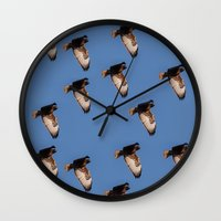 hawk Wall Clocks featuring Hawk by Mark Alder