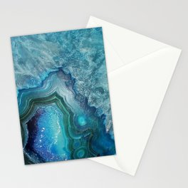 Aqua Turquoise Crystal Mineral Gem Agate Stationery Cards