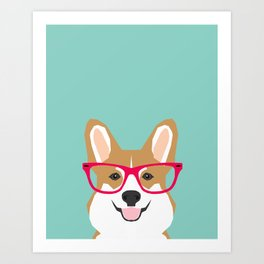 Teagan Glasses Corgi cute puppy welsh corgi gifts for dog lovers and pet owners love corgi puppies Art Print