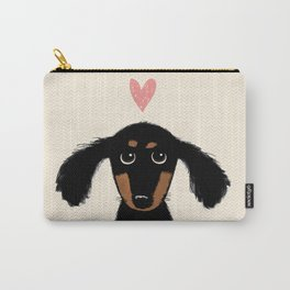 Dachshund Love | Cute Longhaired Black and Tan Wiener Dog Carry-All Pouch