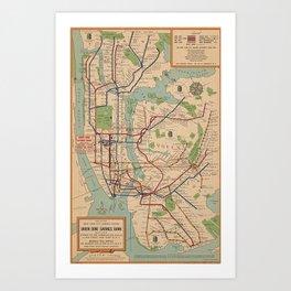 New York City Metro Subway System Map 1954 Art Print