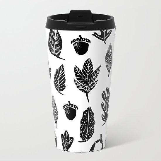 Black and white linocut leaves fall autumn pattern minimal art print home decor Metal Travel Mug