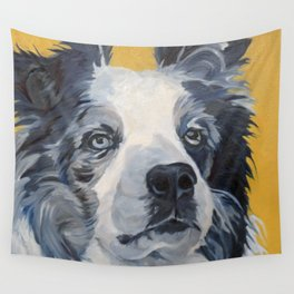 Belle the Border Collie Dog Portrait Wall Tapestry