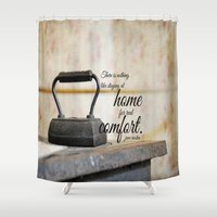 jane austen Shower Curtains featuring Jane Austen Quote Staying Home Real Comfort by KimberosePhotography