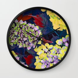 Hydrangea Yellow Wall Clock