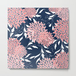 Floral Prints and Leaves, Pink, White and Navy Blue Metal Print