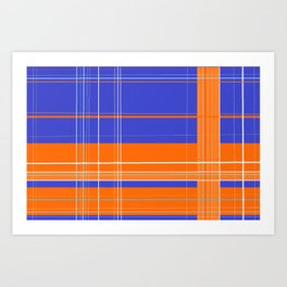 Orange and Blue Plaid Art Print