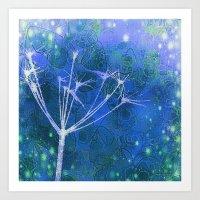 Meadow Myst Blue Art Print