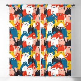 Cats Crowd Pattern Blackout Curtain