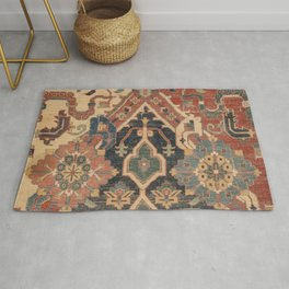 Geometric Leaves I // 18th Century Distressed Red Blue Green Colorful Ornate Accent Rug Pattern Rug