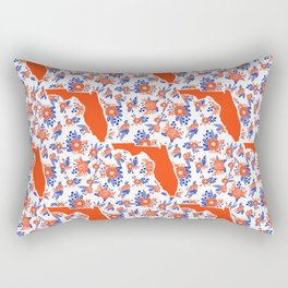 Florida University silhouette orange and blue pattern sports football college gators gator fan Rectangular Pillow