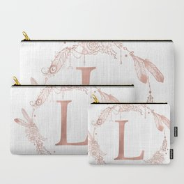 Letter L Rose Gold Pink Initial Monogram Carry-All Pouch