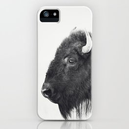 Buffalo Photograph in Black and White iPhone Case